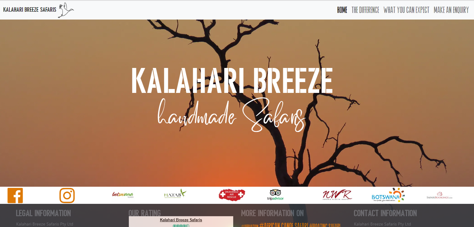 Website Relaunch Kalahari Breeze Safaris